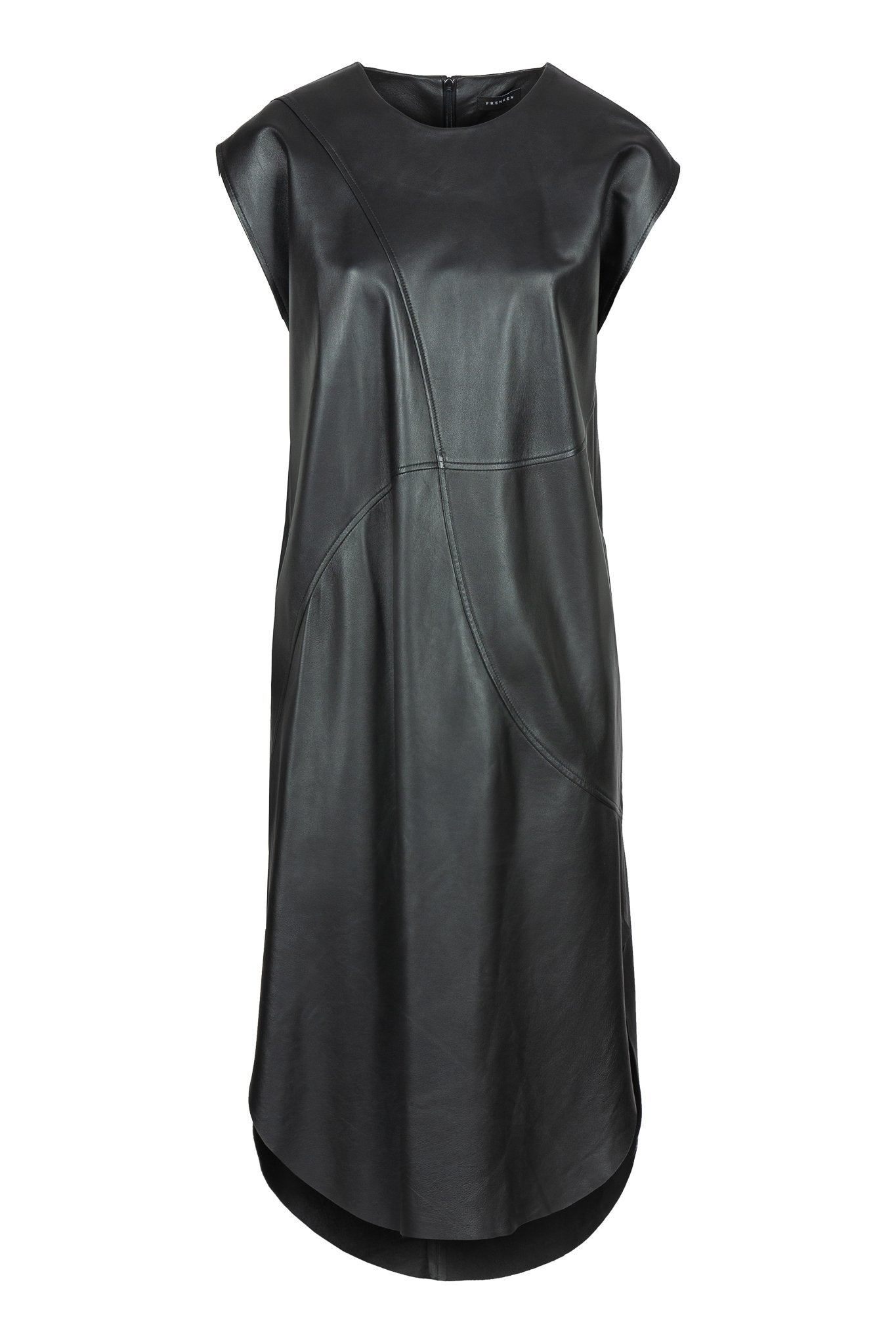 Black Dress, Arrow. FRENKEN fashion brand. Sleeveless perfect for all occasion leather dress. Designed with curved seams, elegant round hems and it has pockets. Cut from supple soft for a loose silhouette. It feels luxurious to wear. Composition, Fabric: 100% Leather