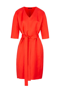 Fire red dress. Designed by Eric Frenken. Easy wearing relaxed fitted midi dress with a long belt.