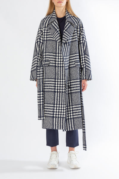 Flustered | Coat | Navy Houndstooth