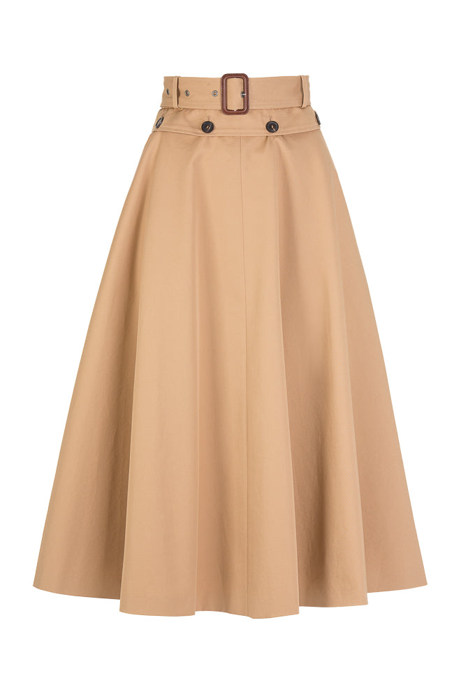 Camel skirt. Fabric: 100% Cotton. Two midi skirts in one. Buttons at the waist so you can button off the upper layer and a second soft satin layer will appear.