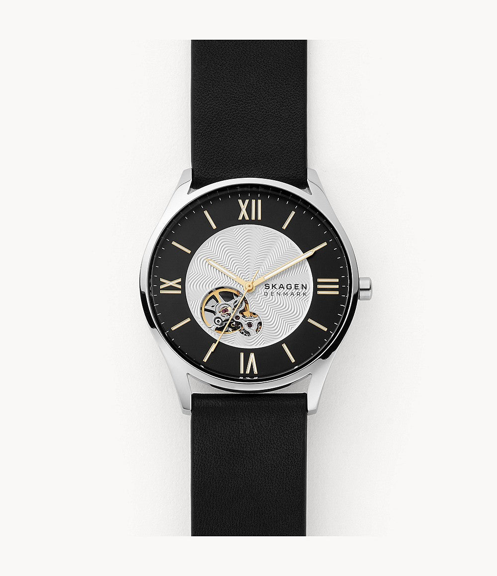 Skagen Holst Automatic Black Leather Watch SKW6710