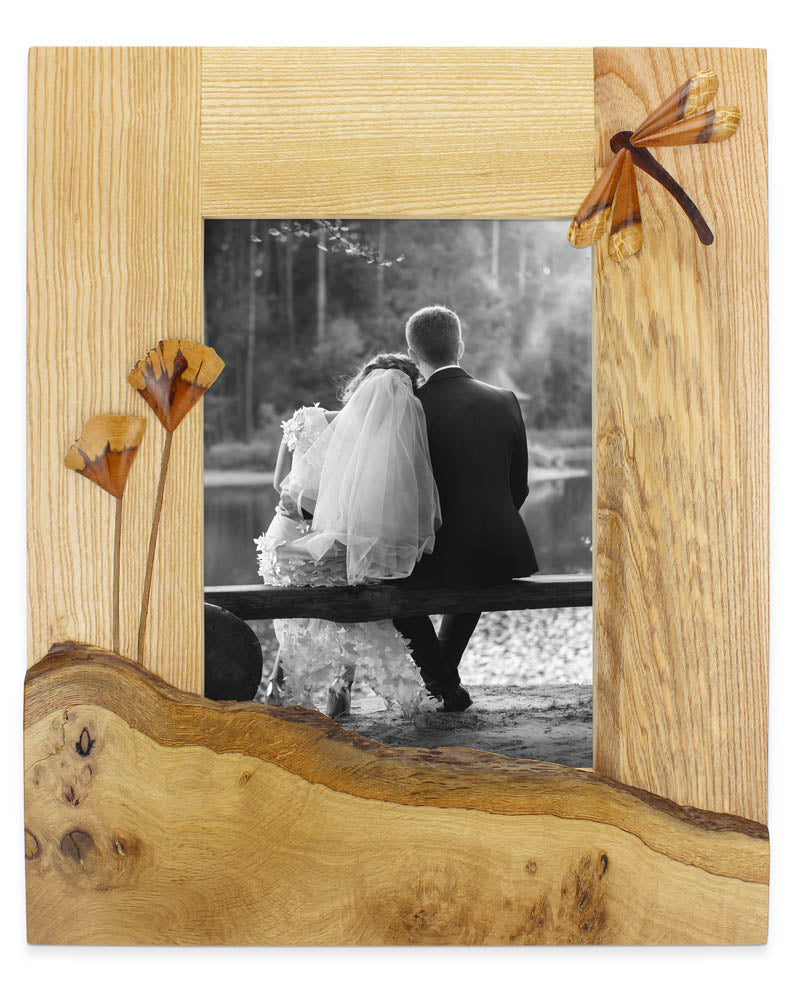 dragonfly oak wedding photo frame by andre daniel
