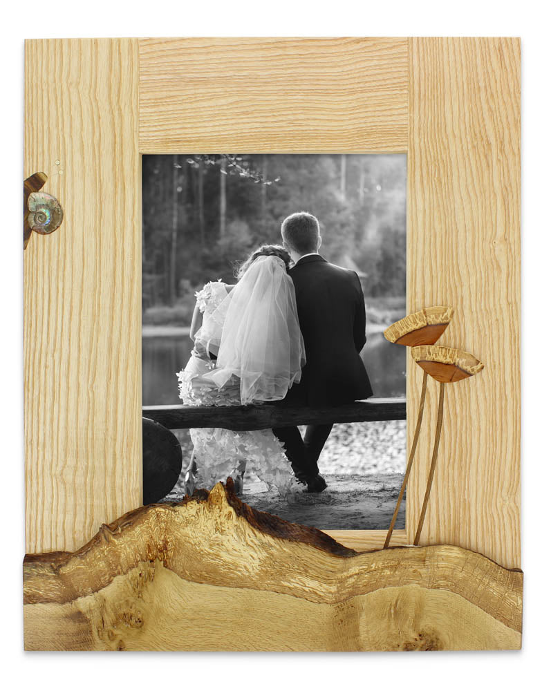 snail hand made portrait photo frame for wedding or christening photo
