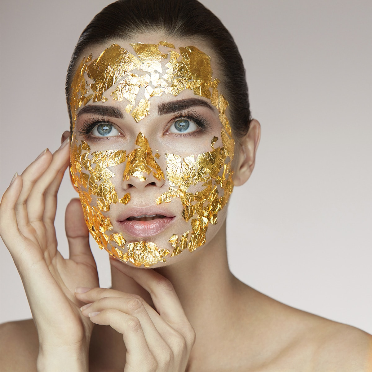 Golden Leaf - 24K Gold Leaf Treatment System - Cocoage Cosmetics gold leaf on skin
