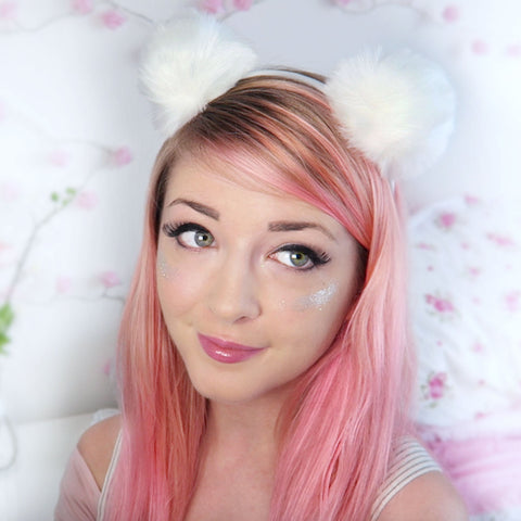 Noodlerella (White Poms) Head Band