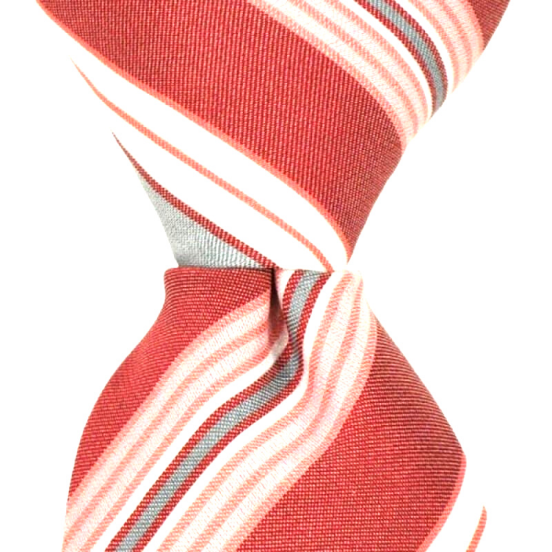 Coral Grey & White Stripe