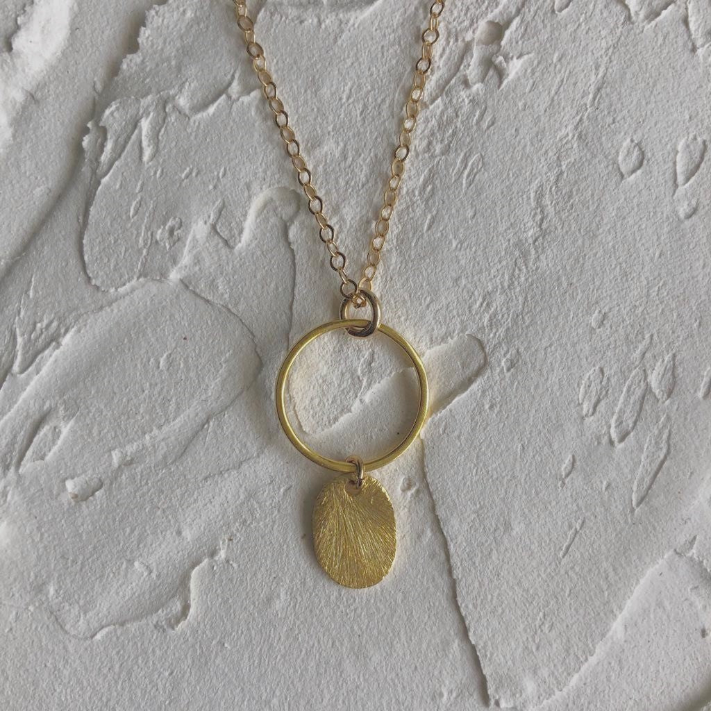 Circle & Oval Sequin Pendant Necklace
