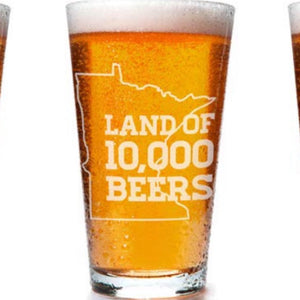 Land of 10,000 Beers Laser Etched Pint Glass