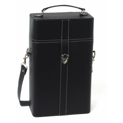 Milano Black Faux Leather Wine Carrier