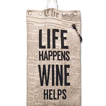 Tote+Able Canvas Life Happens Wine Flask