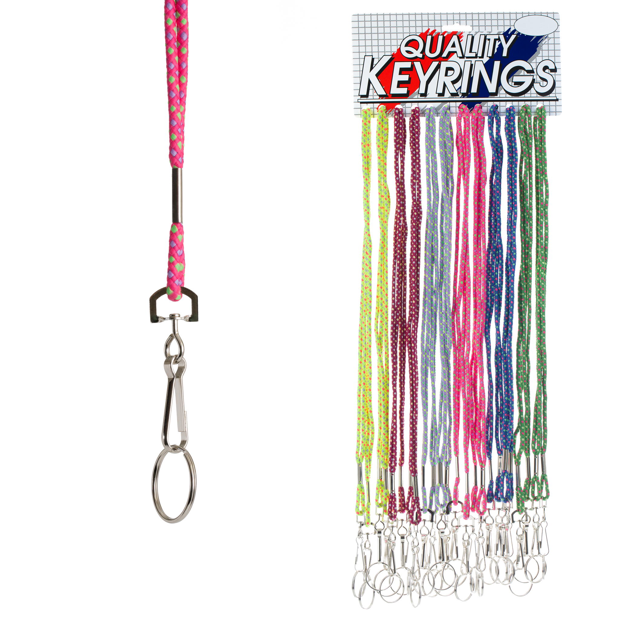 Nylon Multi-Colored Cord Lanyard with Split Ring (24 pc DISPLAY)