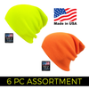 Safety Long Knit Winter Beanie (6 pc Clip Strip)