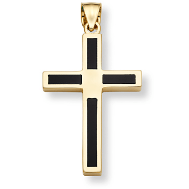 14K Gold Onyx Cross Pendant-Christian Necklaces-Apples of Gold-CR50-4-SonGear