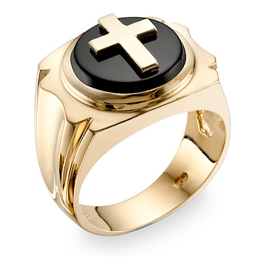 14K Gold Onyx Cross Ring-Christian Rings-Apples of Gold-RG101-28:7-SonGear