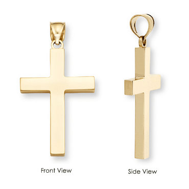 14K Gold Polished Cross Pendant-Christian Necklaces-Apples of Gold-SonGear