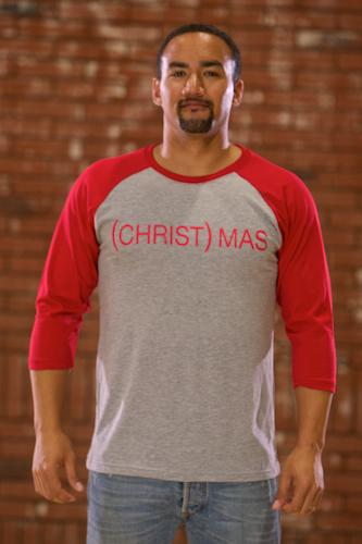 (CHRIST)MAS™ Adult Baseball T-Shirt - Red & Gray