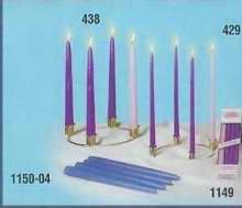 Advent Wreath-Petite w/6' Brass Ring-10' Tiny Tapers (3 Purple & 1 Pink), Candle