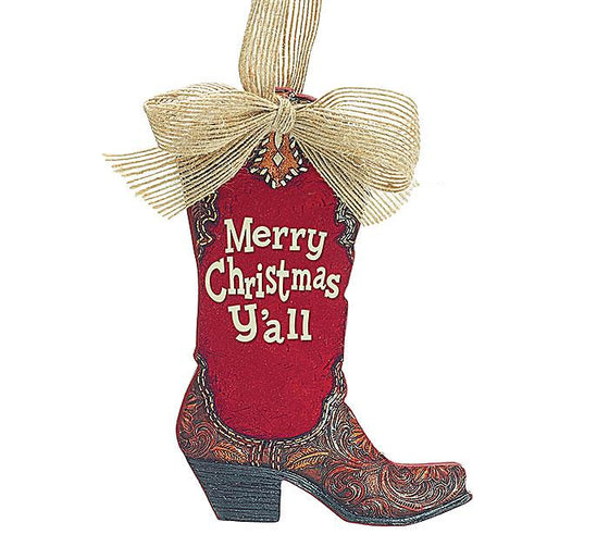 Merry Christmas Y'all - Boot Ornament