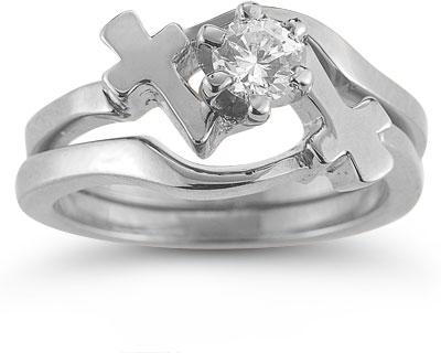 Cross Engagement and Wedding Ring Bridal Set in 14K White Gold w/ CZ