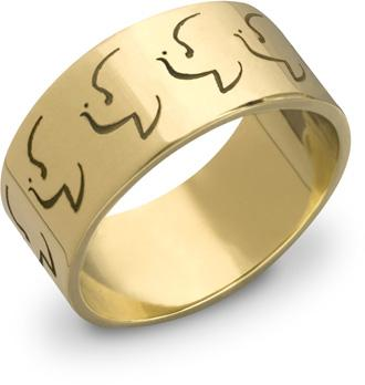 14K Yellow Gold Holy Spirit Dove Ring