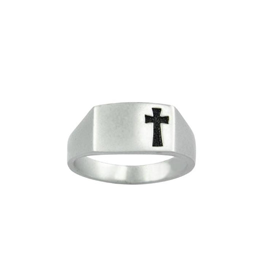 Sterling Silver Men's Cross Christian Ring - Shiny Recessed