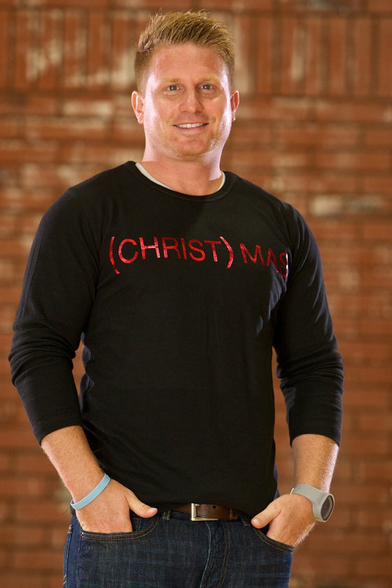 (CHRIST)MAS™ Thermal Men's Shirt - Black/Red Foil