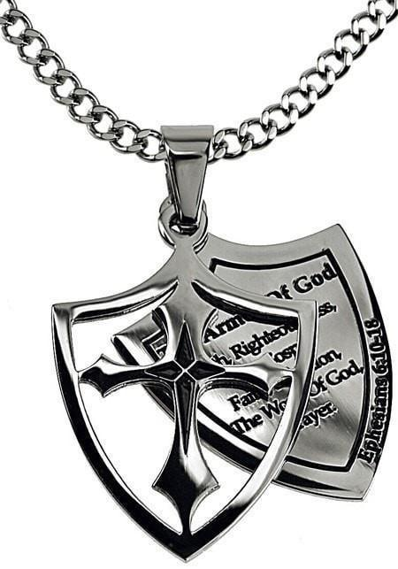 'Armor Of God' List - Men's 2 Piece Shield Cross-Christian Necklaces-Spirit and Truth-SGN4221428807-SonGear