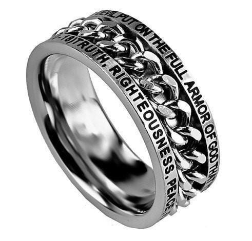 'Armour Of God' - Men's Chain Ring-Christian Rings-Spirit and Truth-SGN999734758-SonGear