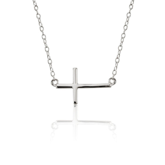 Authority Sterling Silver Sideways Cross Necklace - Small-Christian Necklaces-Halle Joy-SonGear