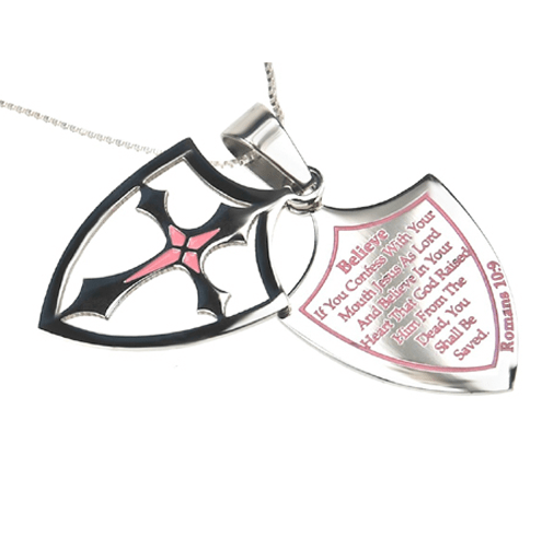 'Believe' - Women's 2 Piece Pink Shield Cross Necklace-Christian Necklaces-Spirit and Truth-SonGear