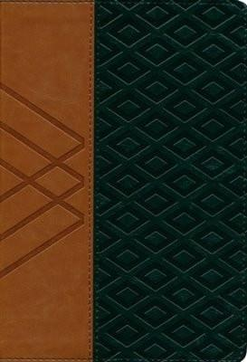 Biblia RVR 1960 Letra Gde. Ref. Tam. Manual, Piel Sim. Tan/Verde (RVR 1960 Hand-Size Lge. Print Ref. Bible, Tan/Green Leather)-Christian Bibles-SonGear Marketplace-SonGear