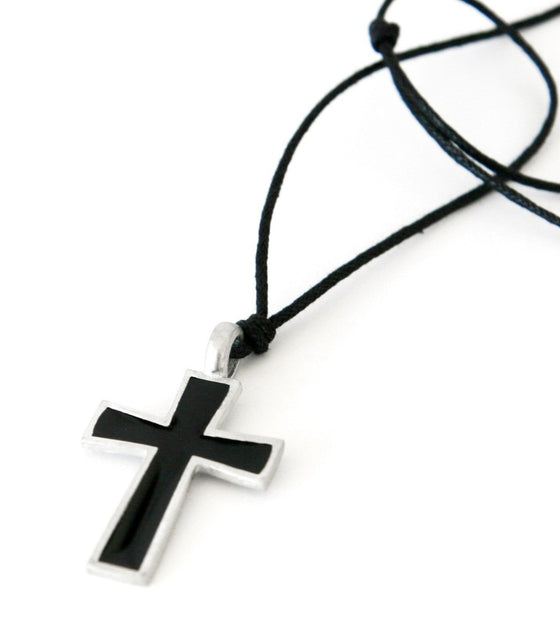 Black Pewter Cross Adjustable Necklace-Christian Necklaces-SonGear Marketplace-SonGear