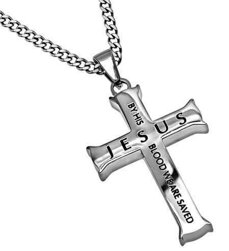'By His Blood' - Men's Iron Cross-Christian Necklaces-Spirit and Truth-SGN2433660469-SonGear