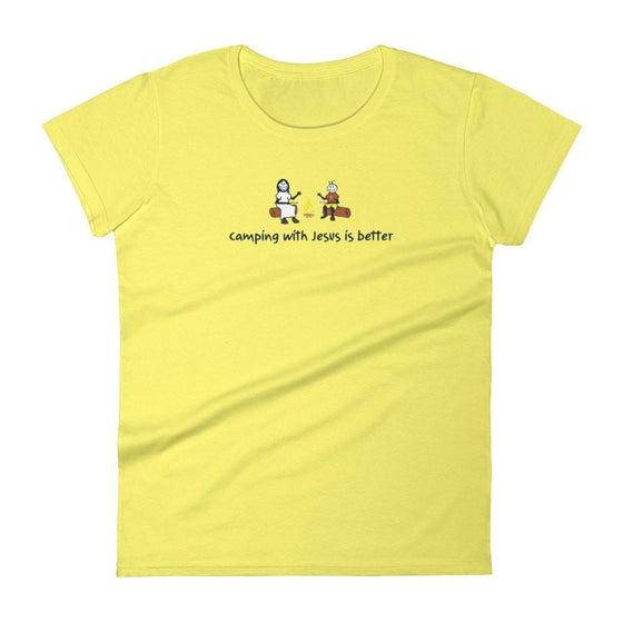 Camping with Jesus is better - Women's short sleeve t-shirt, Christian T-Shirts, SonGear, , 4031795438 - SonGear
