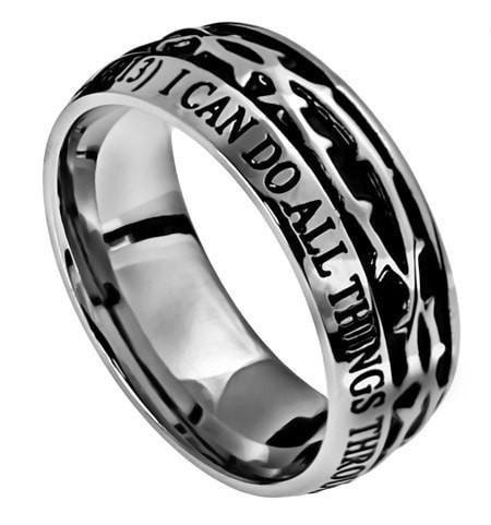 'Christ My Strength' Men's Crown Of Thorns Ring-Christian Rings-Spirit and Truth-SGN2477945122-SonGear
