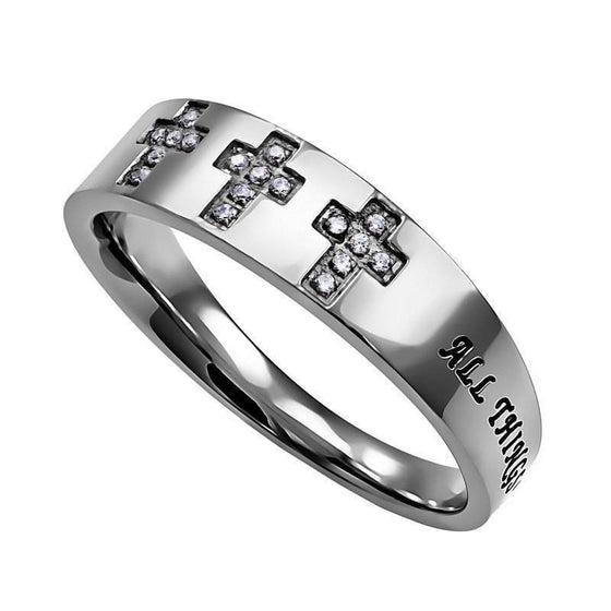 'Christ My Strength' - Women's Calvary Ring-Christian Rings-Spirit and Truth-SGN1994066456-SGN1994066456-SonGear