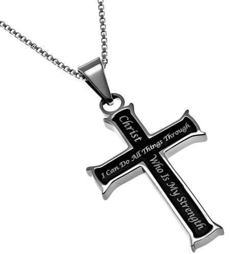 'Christ My Strength' - Women's Mini Black Iron Cross-Christian Necklaces-Spirit and Truth-SonGear