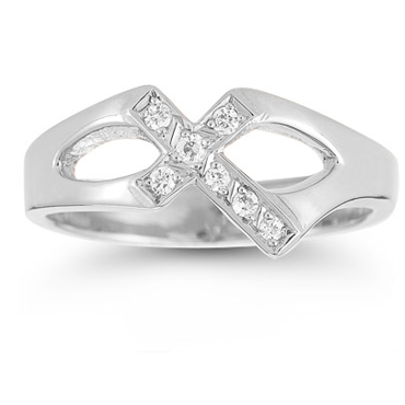 Christian Cross Sterling Silver White Topaz Ring-Christian Rings-Apples of Gold-AOGRG-3021SS:7-SonGear