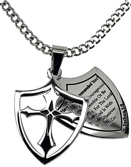'Courage' - Men's 2 Piece Shield Cross-Christian Necklaces-Spirit and Truth-SGN3999158167-SonGear