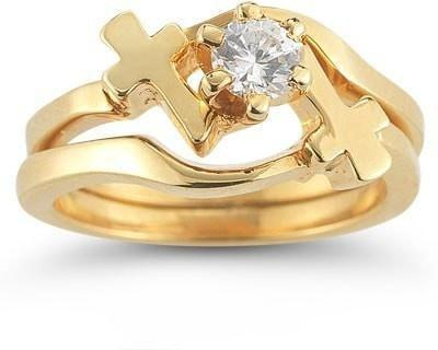 Cross Engagement And Wedding Ring Set In 14K Yellow Gold W CZ Christian Rings