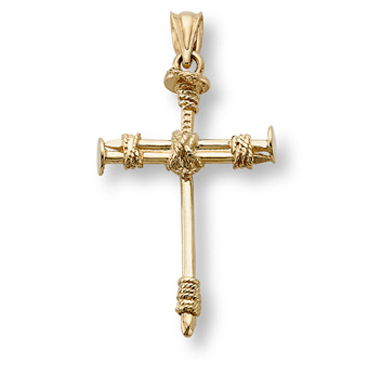 Cross of Nails Pendant, 14K Gold-Christian Necklaces-Apples of Gold-SonGear