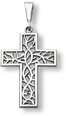 """Crown of Thorns"" Cross Necklace in 14K White Gold-Christian Necklaces-Apples of Gold-SonGear"