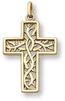 """Crown of Thorns"" Cross Necklace in 14K Yellow Gold-Christian Necklaces-Apples of Gold-SonGear"