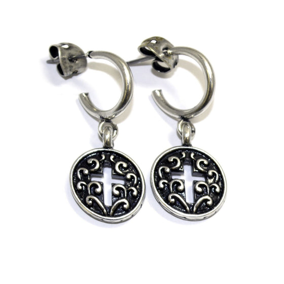 Dainty Cross Earring-Christian Earrings-Halle Joy-SonGear