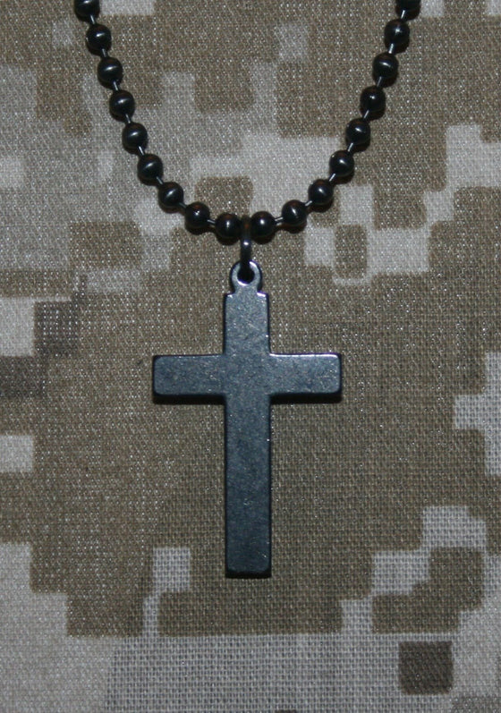 Genuine U. S. Military Issue Black Cross-Christian Necklaces-GI Jewelry-SonGear