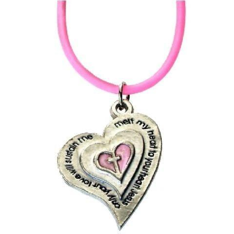 Heart Necklace with Pink Rubber Cord-Christian Necklaces-SonGear Marketplace-SonGear