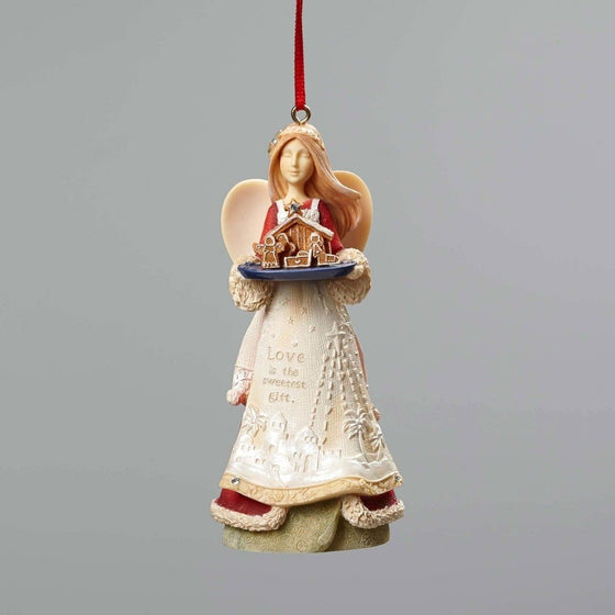 Heart Of Christmas-Angel w/Nativity, Ornament-Christian Holiday Ornaments-SonGear Marketplace-SonGear