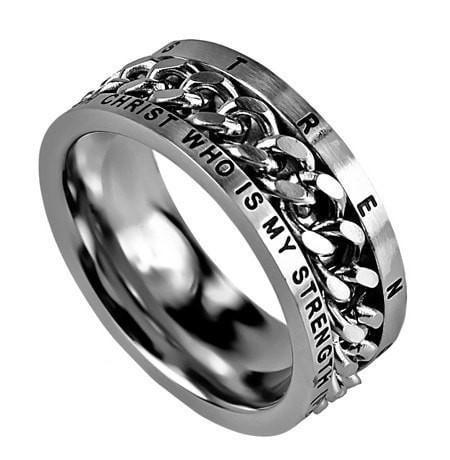 'His Strength' - Men's Chain Ring-Christian Rings-Spirit and Truth-SGN1033433424-SonGear