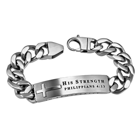 'His Strength' - Men's Silver Neo Bracelet-Christian Bracelets-Spirit and Truth-SonGear