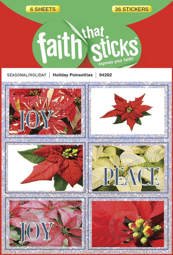 Holiday Poinsettia Stickers (6 Sheets)-Christian Decorative Stickers-SonGear Marketplace-SonGear